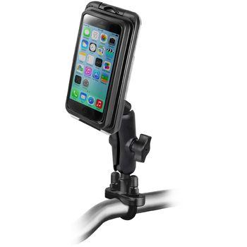 RAM Mounts vodotěsný držák na iPhone 5, 5S a 5C na motorku nebo na kolo na řídítka, Ø objímky 12,7-31,75 mm, AQUABOX® Pro 20 i5, sestava RAM-B-149Z-AQ7-2-I5CU