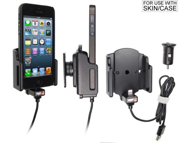 obsah balení Brodit držák do auta rozšířitelný 59-63mm, tl. 6-10mm s CL nabíjením + PanzerGlass sklo pro Apple iPhone 5/5S/5C