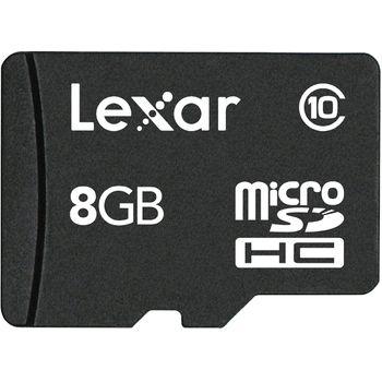 Lexar microSDHC 8GB Class 10 paměťová karta + SDHC adaptér