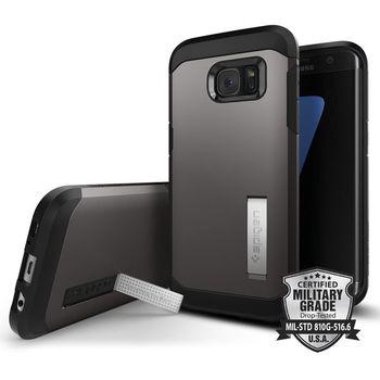 Spigen pouzdro Tough Armor pro Galaxy S7 edge, kovově šedé
