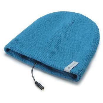 Zimní čepice CellularLine Music Cap s integrovanými sluchátky, konektor 3,5mm jack, modrá