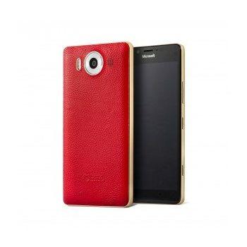 Mozo kožený kryt pro bezdrátové nabíjení pro Lumia 950, červený