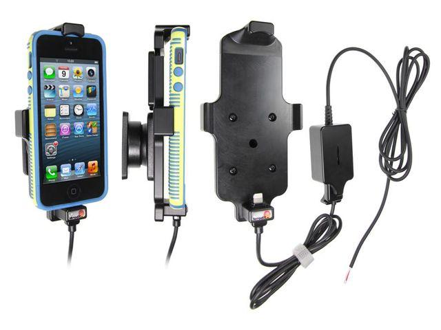 obsah balení Brodit držák do auta pro iPhone 5/5S v tenkém pouzdru se skrytým nabíjením + Spigen zadní kryt černý