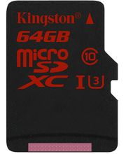 Kingston microSDHC 64GB Class 10/UHS-I U3, zápis 80MB/s + SD adaptér