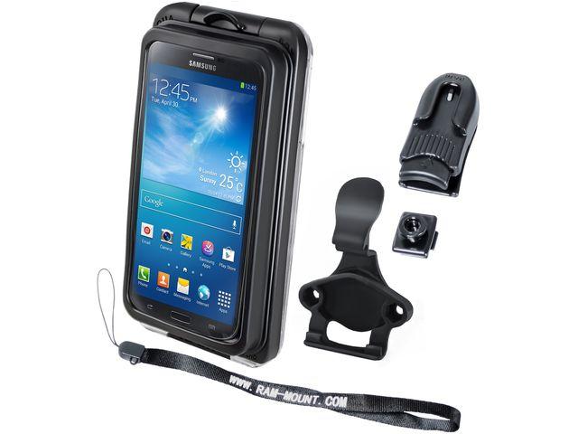 obsah balení RAM Mounts vodotěsný držák na velké telefony na motorku nebo na kolo na řídítka, Ø objímky 12,7-31,75 a 40-80 mm, AQUABOX® Pro 20, sestava RAM-B-149Z-2-AQ7-2CU