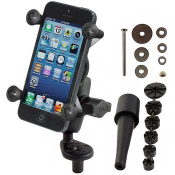RAM Mounts univerzální držák na mobilní telefon s úchytem na motorku na řídítka do středu vidlice, X-Grip, krátké rameno, sestava RAM-B-176-A-UN7BU
